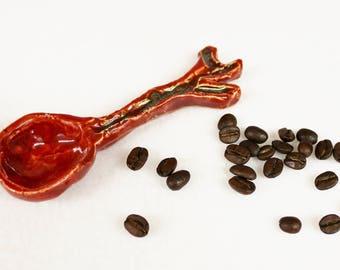 Rustic Faux Bois Ceramic Coffee Scoop