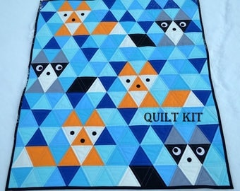 DIY Fox & Friends triangle Quilt Kit and Pattern, Bedding Crib Blanket Quilting Patchwork Project Baby Quilt Kit Toddler Kit animal raccoon