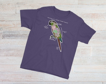 YOUTH TEE - Anatomy of a Green Cheek Conure - Funny Green Cheek Conure Shirt - Youth Short Sleeve T-Shirt
