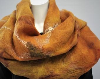 Nuno felt scarf. Large maroon silk felted shawl. Wrap for women