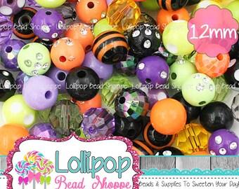 Halloween Bead Mix, 12mm Beads, Purple Lime Orange & Black Beads, 100, Wholesale Mini Chunky Beads, Chunky Bulk Beads, Bulk Mix, MBM15