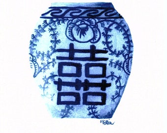 Blue and White Ginger Jar Watercolor Art Print