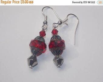 15%OFF Red  Picasso Glass Bead Silver Crystal Dangle Earrings