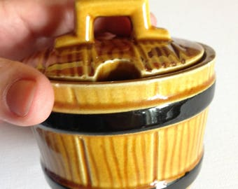 Vintage Secla pottery lidded Pot with lid  black and treacle half barrel wood container effect