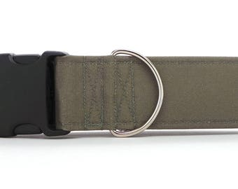 Solid Moss Green CANVAS Dog Collar (Martingale, Buckle or Tag)