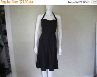 ON SALE Black cotton halter Dress