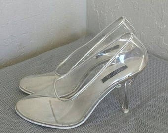 ON SALE See through vinyl pumps, heels, shoes Sz 7.5