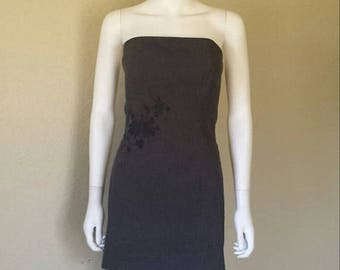 25% off SALE Floral embroidered strapless grey dress