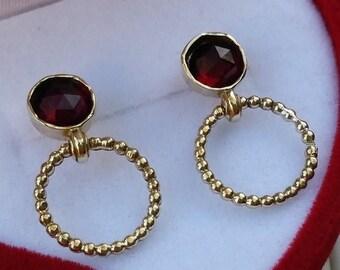 SALE Garnet Gold Stud Earrings ,14K Yellow Gold Earrings ,Gemstones Gold Earrings ,Birthstone Earrings ,Handmade Stud Earrings ,Unique Errin
