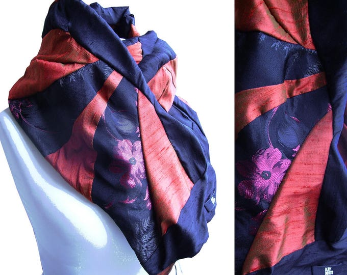 scarf shawl stole patchwork ASIANMOOD BLACK RED Scarf Amorph upcycling