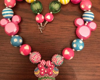 Minnie Mouse Head Pink/Blue/Yellow/Green Bubble Gum Necklace (Child/Toddler)