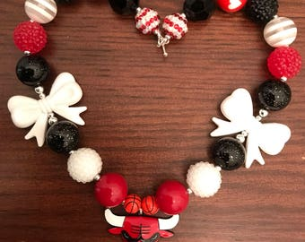 NBA inspired Chicago Bulls Basketball Chunky Bubble Gum Necklace (Adult/Teen).