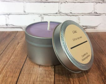 lilacs scented soy candle, lilacs soy candle tin
