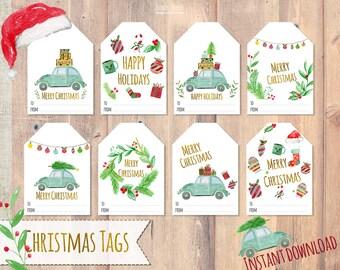 Christmas tags printable, Holiday Gift Tags christmas labels, Christmas printable, Printable Christmas Tags, Printable Gift Tags, beetle