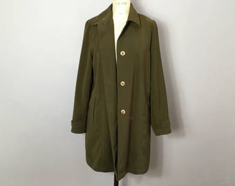 Trench coat raincoat mac army jacket work wear military hipster Japan double breasted pea coat short khaki classic unisex chest size 40 Dj6FbK