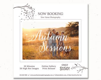 Now Booking Photography Template, Autumn Session, Family Mini Session Marketing, Photoshop Templates for Photographers, Photography, m163