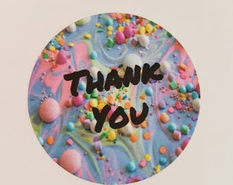 Thank you stickers x 35 37mm Digital download Sweets Party Bag round