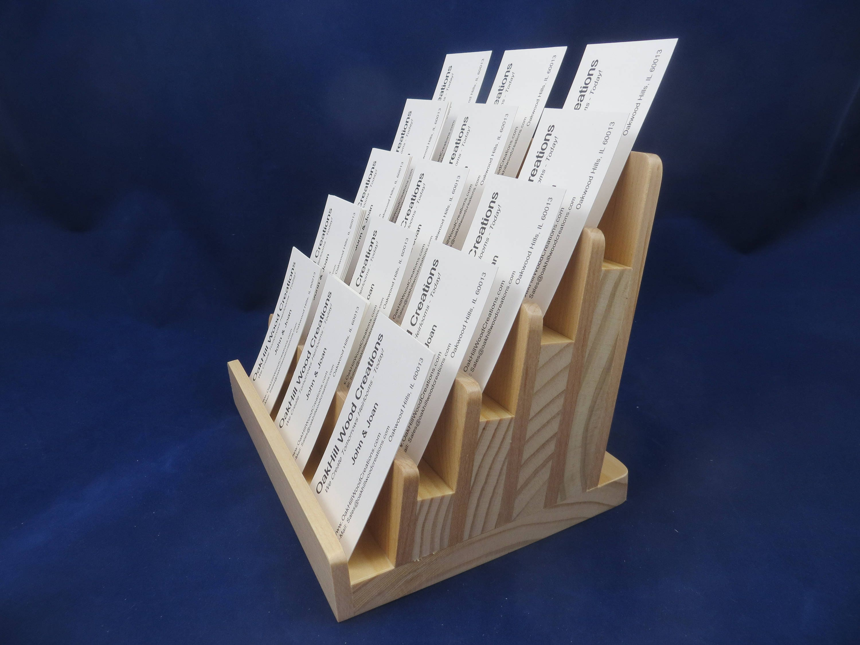 Multiple Business Card Holder 5 Tier Wood Display Vertical