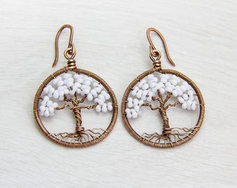 """Tree-Of-Life Earrings 1.2"""" Birthday Gift-for-her gift-for- women Copper Wire Wrapped Earrings, Wired Copper Jewelry gift Rustic earrings"""