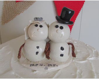 Snowman Bride & Groom Wedding Cake Topper, Winter Wedding Cake Topper, Winter Wedding, Snow Wedding, White and Silver Wedding, Snowman Cake