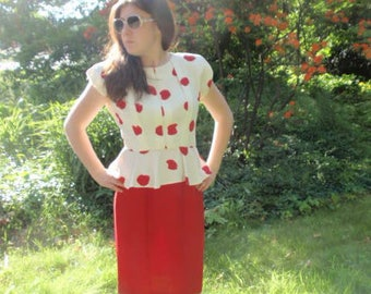 Vintage 80s Red and White polka Dot peplum Dress Small