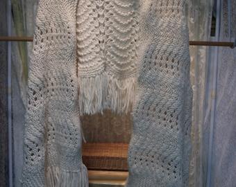 Vintage Homemade Ivory Crocheted Shawl