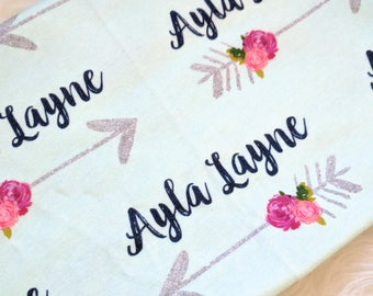 Personalized floral arrow swaddle blanket: baby and toddler personalized name newborn hospital gift baby shower gift