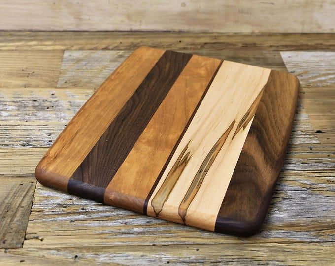 SALE, Price Reduced! Wood Cutting Board, Small Size, Random Layout, Walnut, Cherry & Ambrosia Maple Wood