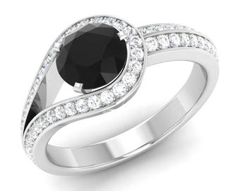 black diamond engagement ring natural black diamond with si diamond 14k gold diamond wedding - Black Diamond Wedding Rings For Him