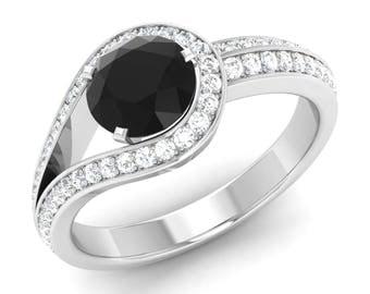 black diamond engagement ring natural black diamond with si diamond 14k gold diamond wedding - Black Diamond Wedding Rings For Him