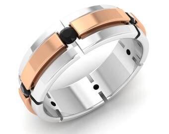 Black Diamond Men Ring, 14K White Gold, Two Tone Ring, Men Gold Ring, Men Anniversary/Wedding Ring/Band, Men Engagement Ring | Round Diamond