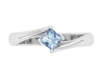 Aquamarine Engagement Ring | Princess Cut | Solitaire Ring | 14K White Gold | Gemstone Ring | Gift For Women | Anniversary Ring | Gold Ring