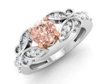 Natural Round Morganite rings   Morganite & SI Diamond Engagement Ring   AAA Morganite In Rose Gold   Morganite engagement ring white gold