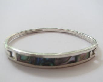 Vintage  Mexico Alpaca Silver  w Abalone  Enamel Hinged  Bracelet