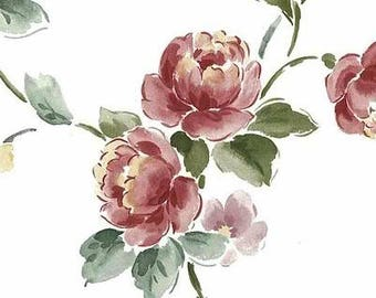 Pink Peony Vintage Wallpaper Off-White Green Yellow Floral KM3084 Double Rolls