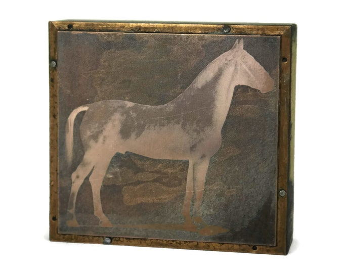 Antique Horse Copper Printing Plate Stamp. French Engraving Letterpress Block. Equestrian Art. Scrapbooking & Craft Gifts.