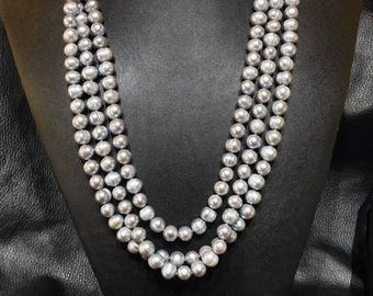Genuine Pearl Necklace, 80 Inches Long, Silver Gray, 8-9 mm