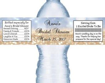 21 Glitter Bridal Shower and Wedding Water Bottle Labels