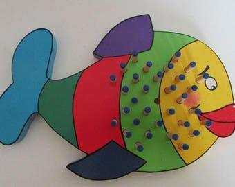 Multicolored fish print wooden Solitaire
