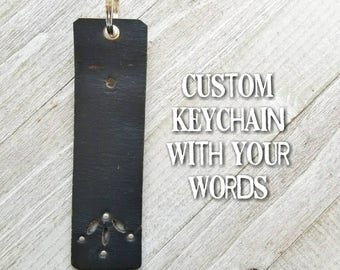 custom handstamped belt keychain / repurposed / leather / upcycled belt keychain