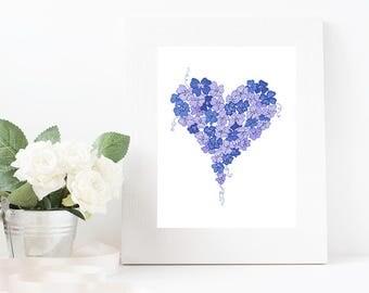 Blue heart stationary digital download