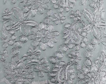 Silver Amanda Embroidery Flowers with Scallopped Edge Sequins on a Mesh Lace Fabric by the Yard- Style- 2877
