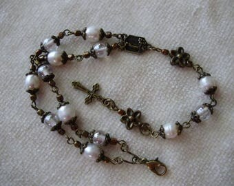 Antique Gold Czech Druk and Natural Pearl Our Lady of Fatima Rosary Bracelet
