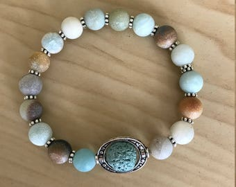 Essential oil diffuser Bracelet - Amazonite - Aromatherapy Lava Rock Bracelet - Jewelry Diffuser
