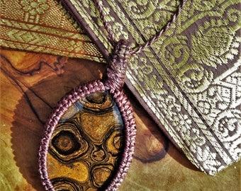 Stromatolite necklace/Macrame necklace/Stromatolite fossile/Fossile pendant/Fossile necklace/Anneroza/Bohemian/Boyfriend gift/Men/Husband
