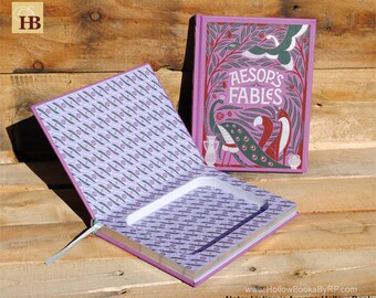 Book Safe - Aesop's Fables - Leather Bound Hollow Book Safe
