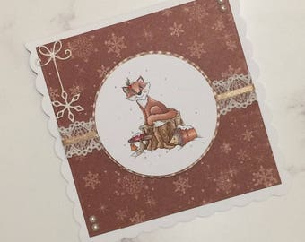 Handmade Christmas Friends Card, Greeting Card, Xmas Card, Christmas Card, Fox Card