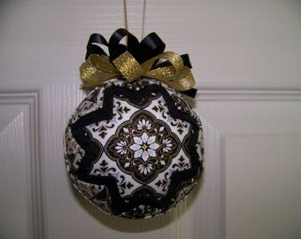 Black and Gold Quilted Ornament