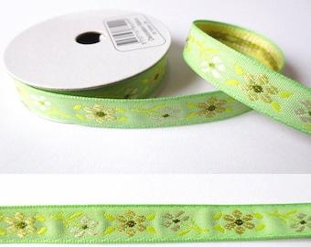 2 m x 10mm flower fancy Ribbon / Green
