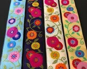 Renaissance Ribbons LFNT Suzanni Flowers woven jacquard embroidered ribbon trim 22mm 7/8 inch wide free domestic shipping